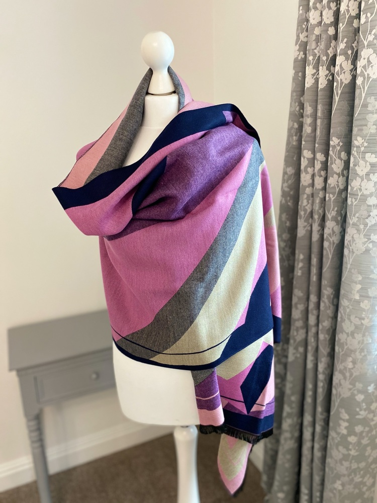 Navy & Pink Large Abstract Print Cashmere Mix Scarf