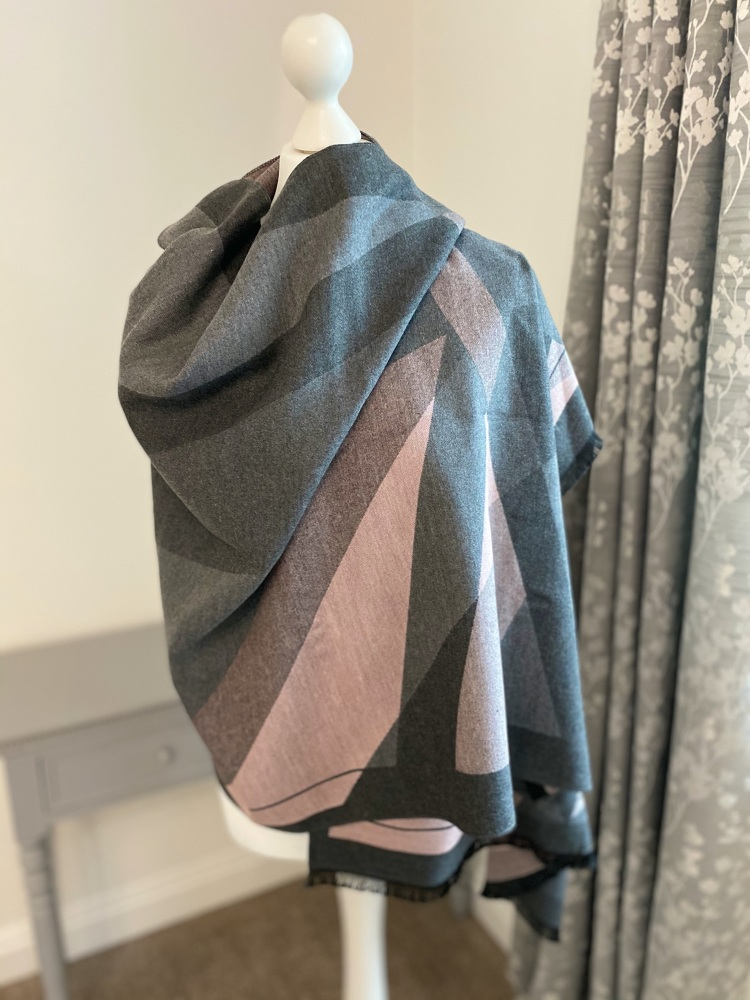 Grey & Pink Large Abstract Print Cashmere Mix Scarf