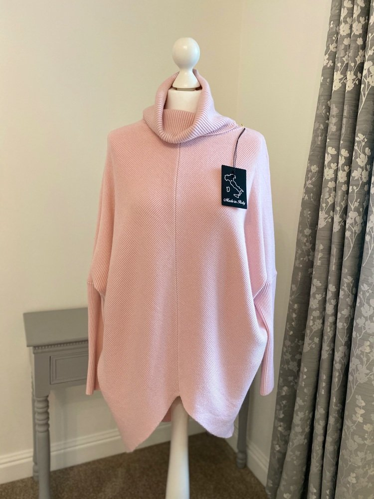Pale Pink V Front Snuggly Oversized Jumper