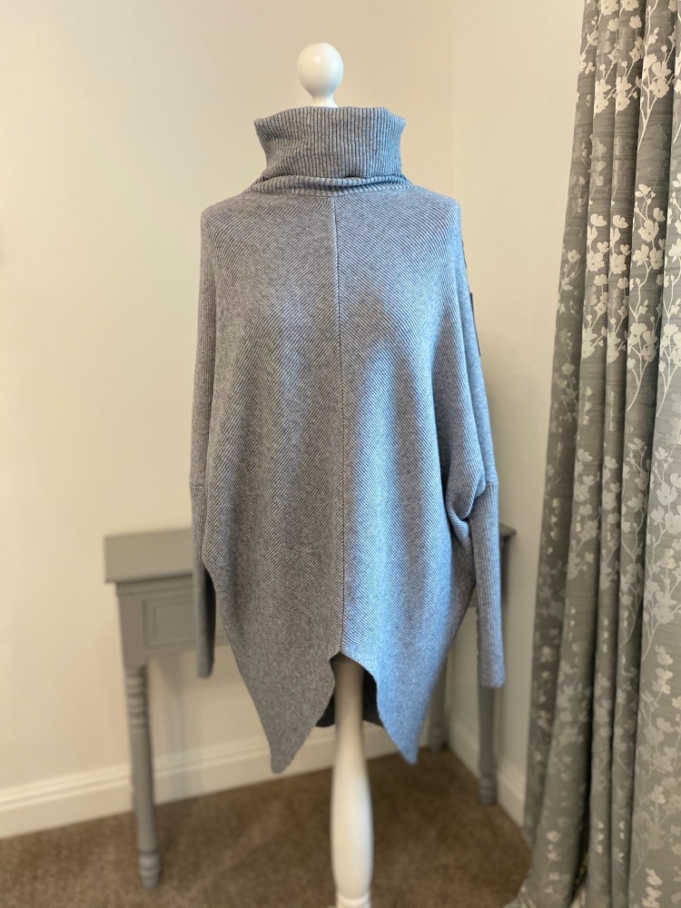 Grey V Front Snuggly Oversized Jumper