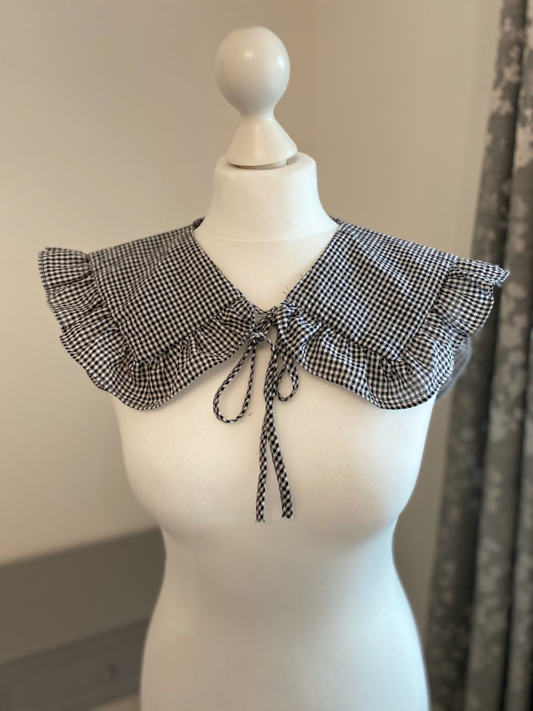 Gingham Black & White Detachable Collar