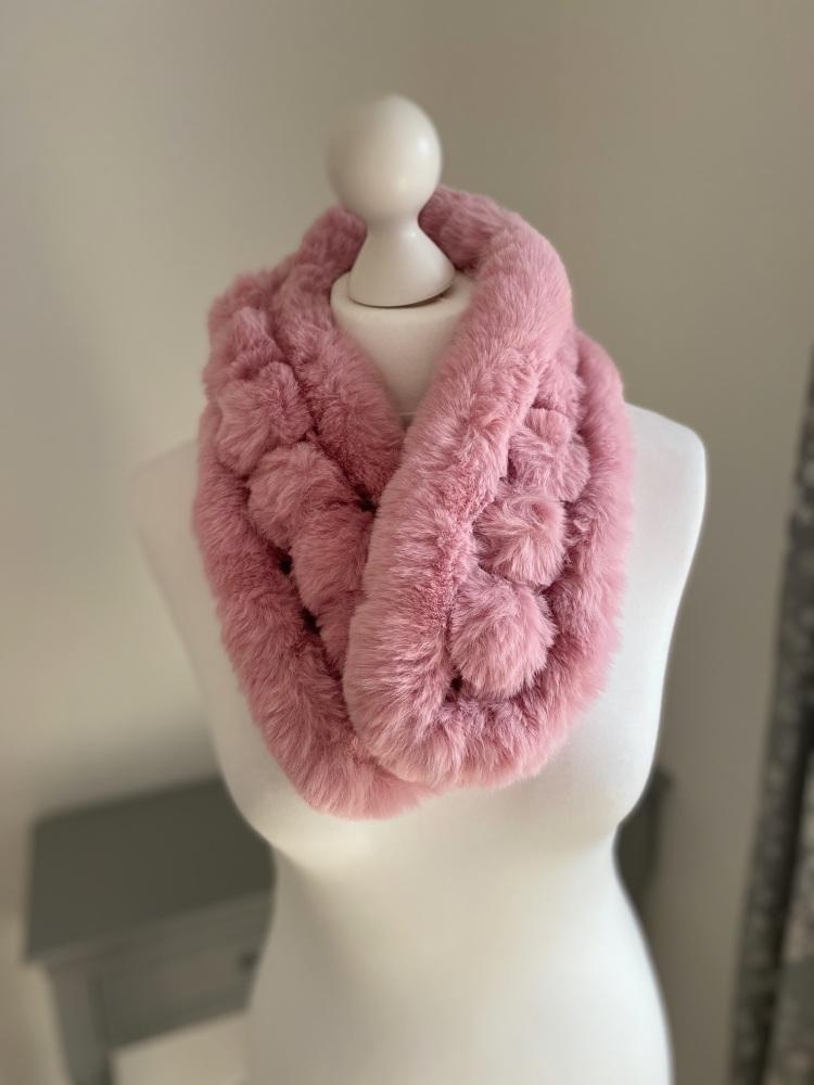 Pink Faux Fur Pom-Pom Scarf