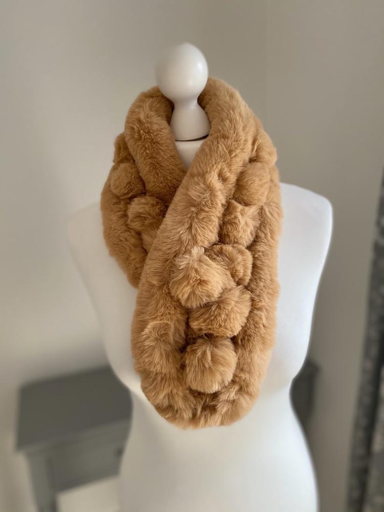 Camel Faux Fur Pom-Pom Scarf