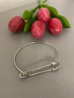 Contemporary Silver Safety Pin Bangle