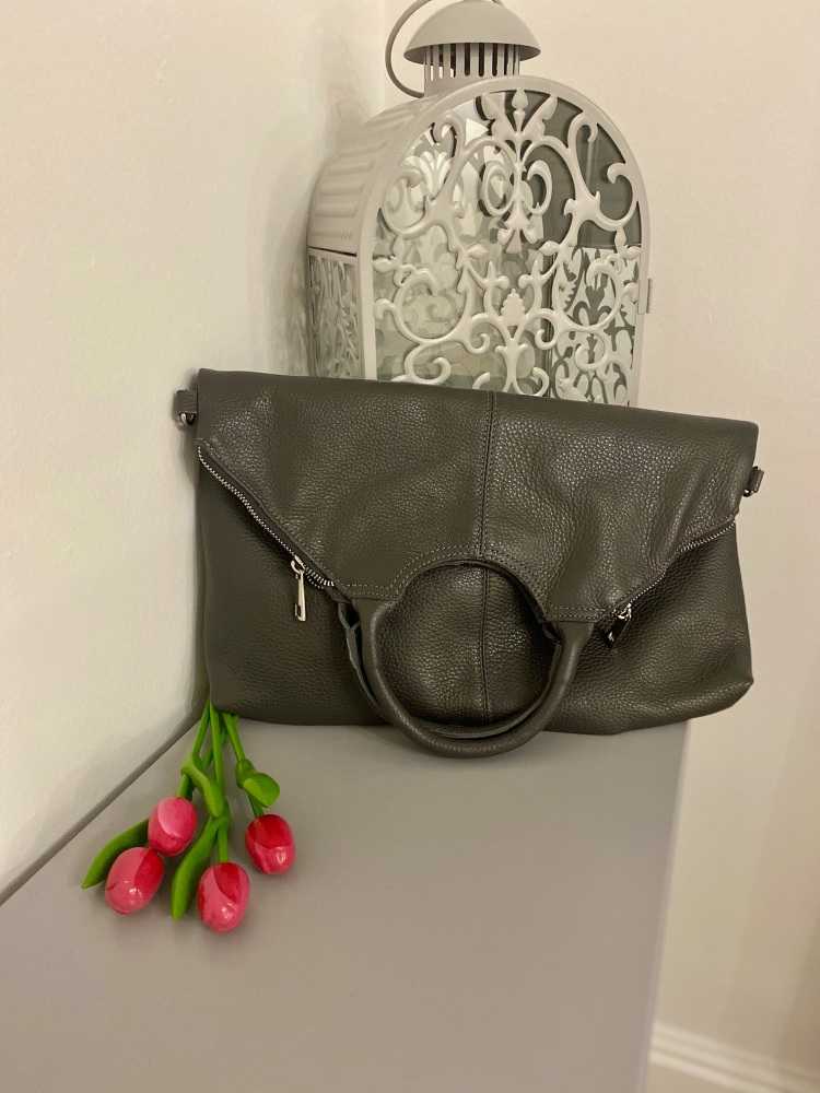 Large GREY Leather Tote / Large Crossbody Bag