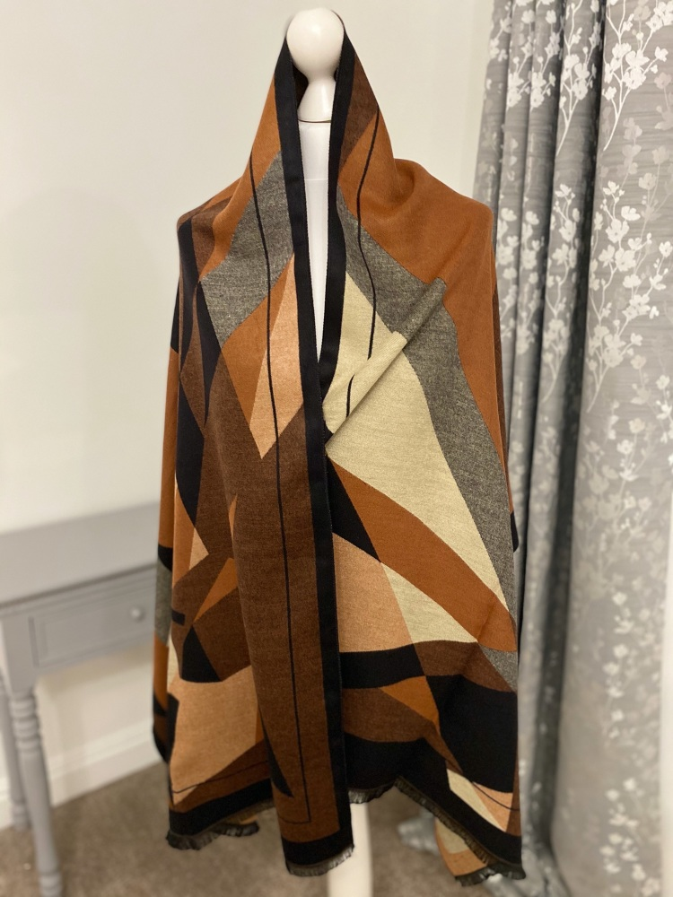 Brown & Grey Large Abstract Print Cashmere Mix Scarf