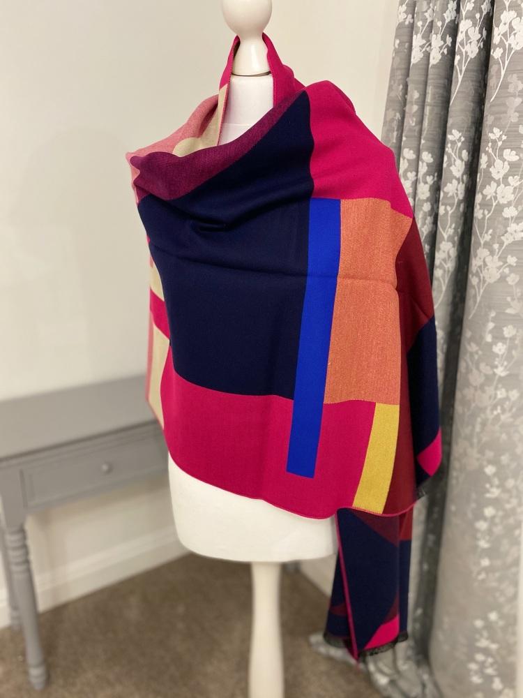 Multi-Coloured Large Bright Print Cashmere Mix Scarf