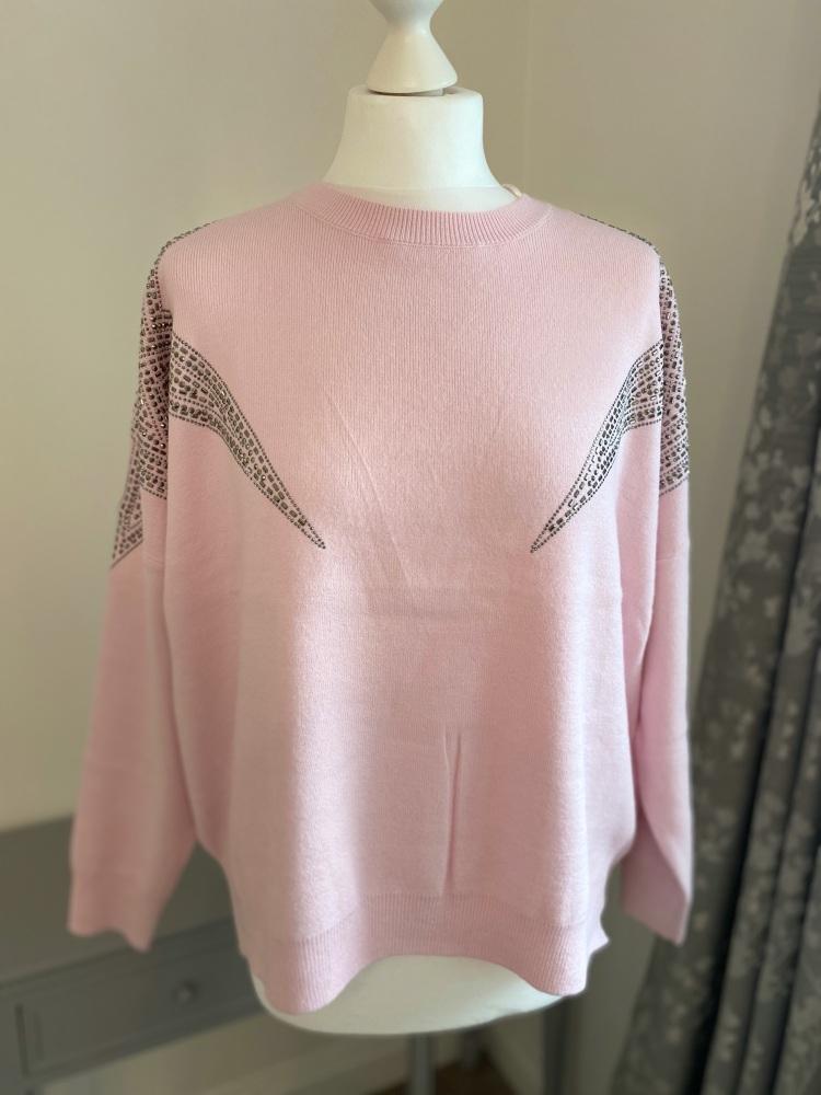 Star Studded Shoulder Pink Jumper