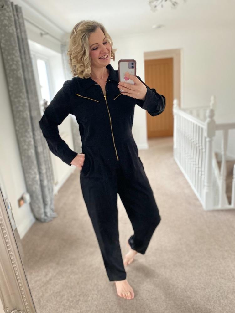 Black Zip Front Jumpsuit