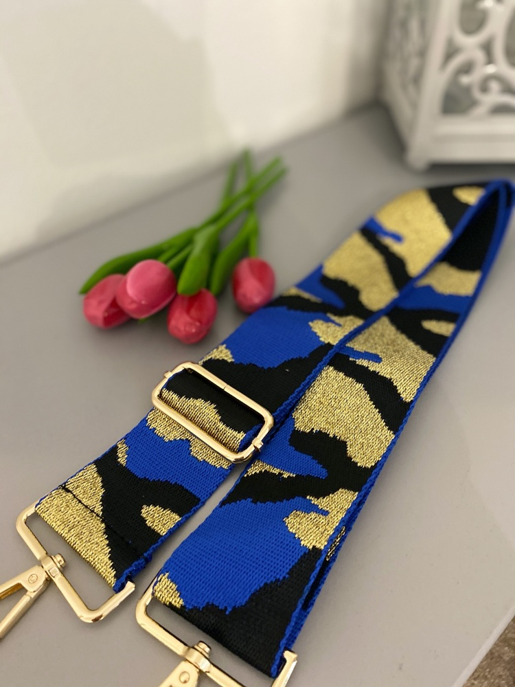 Blue, Black & Gold Adjustable Bag Strap