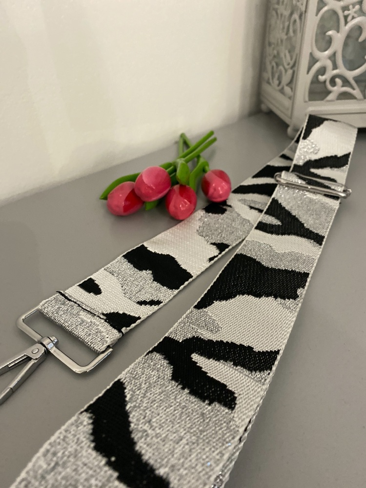 White, Silver & Black Camo Style Bag Strap