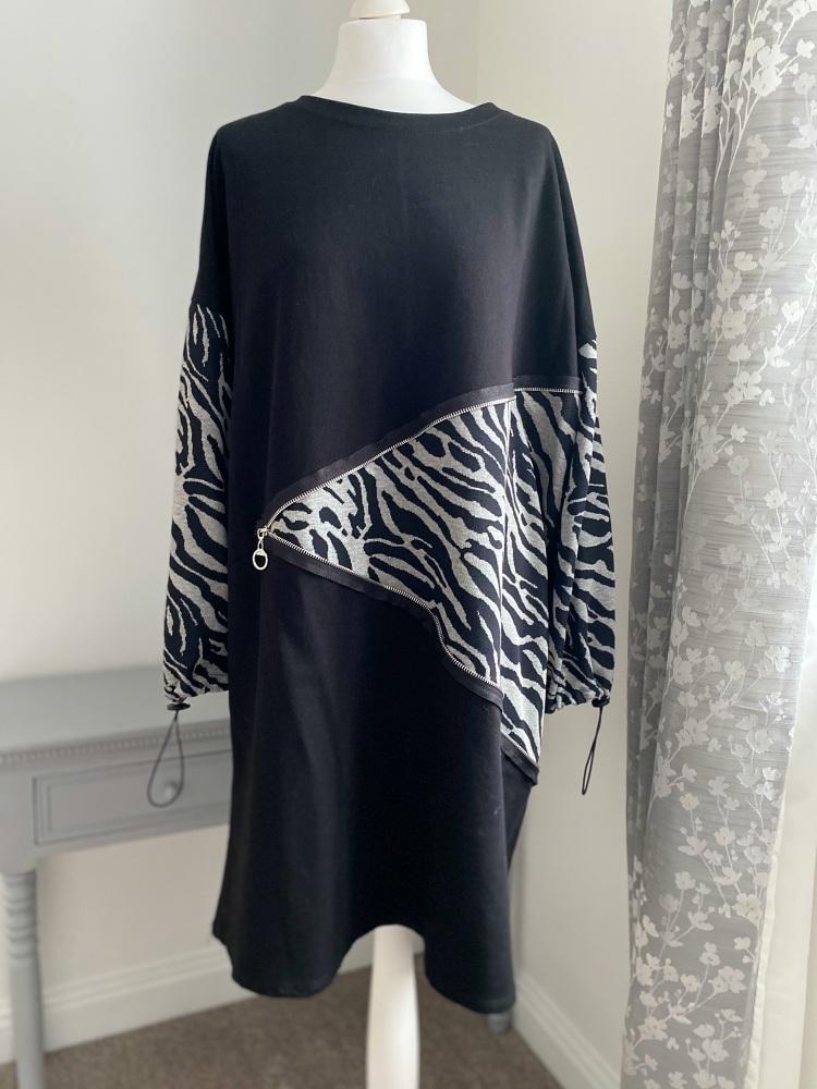 Zebra Print Zip Feature Knee Length Dress