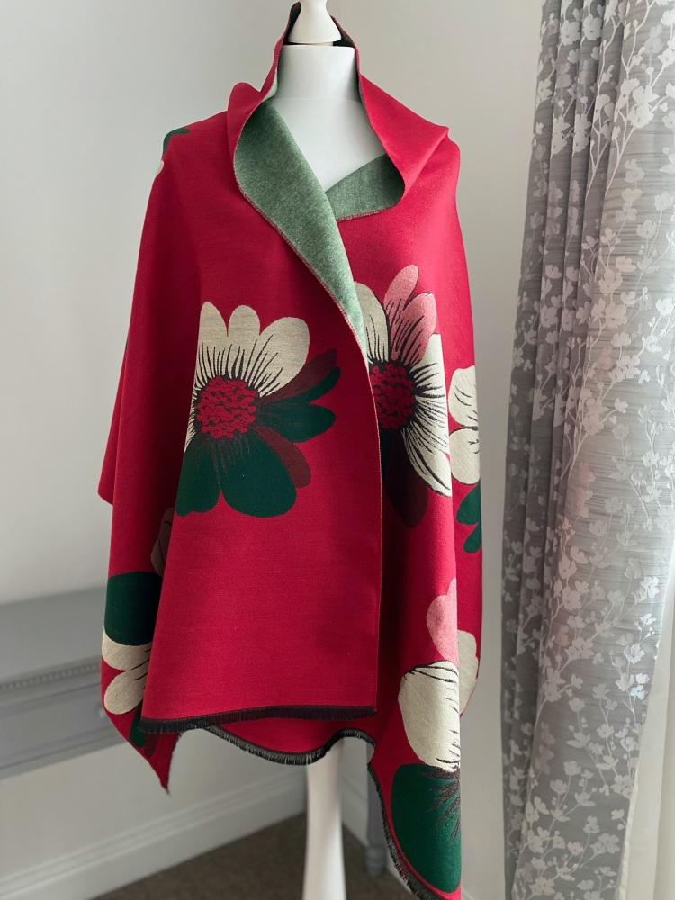Red & Green Floral Cashmere Mix Scarf