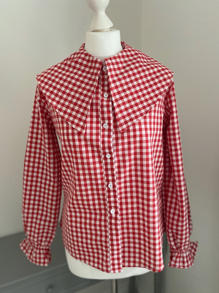 Red Gingham Statement Collar Blouse