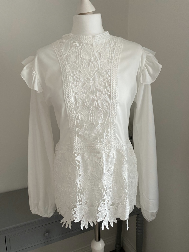 White Lace Detail Long Sleeve Top