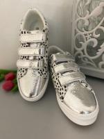 Dalmatian print velcro silver trainers