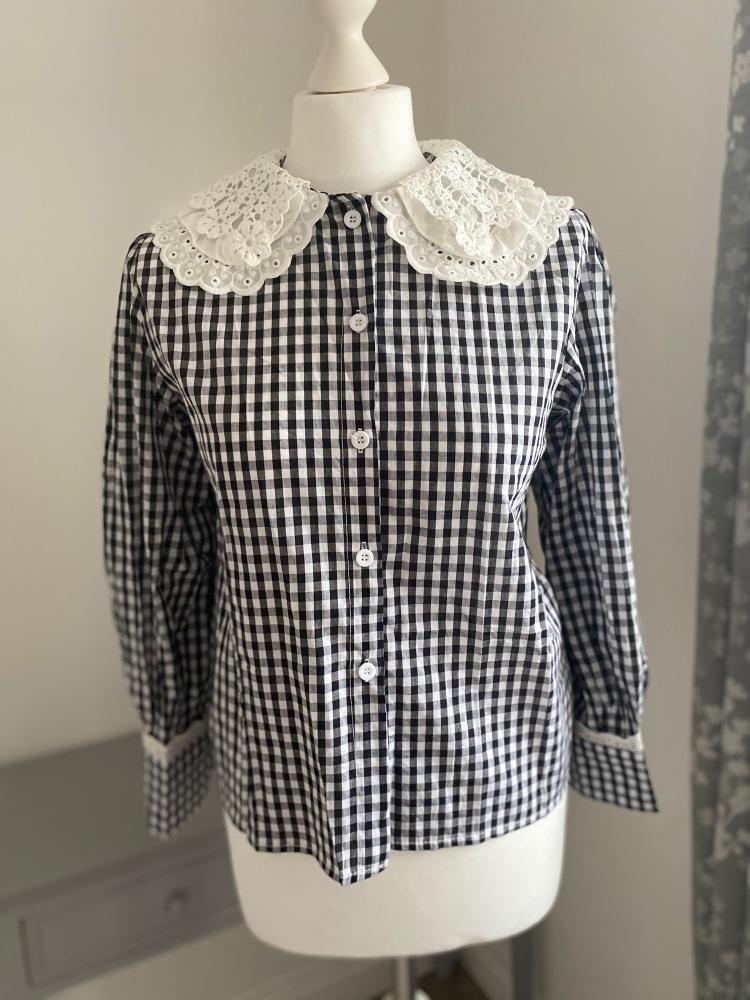 Black gingham statement collar shirt