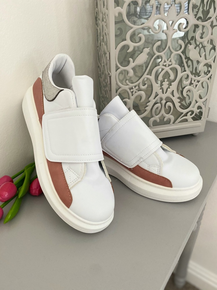 Velcro fastening white, silver & rose coloured fashion trainers