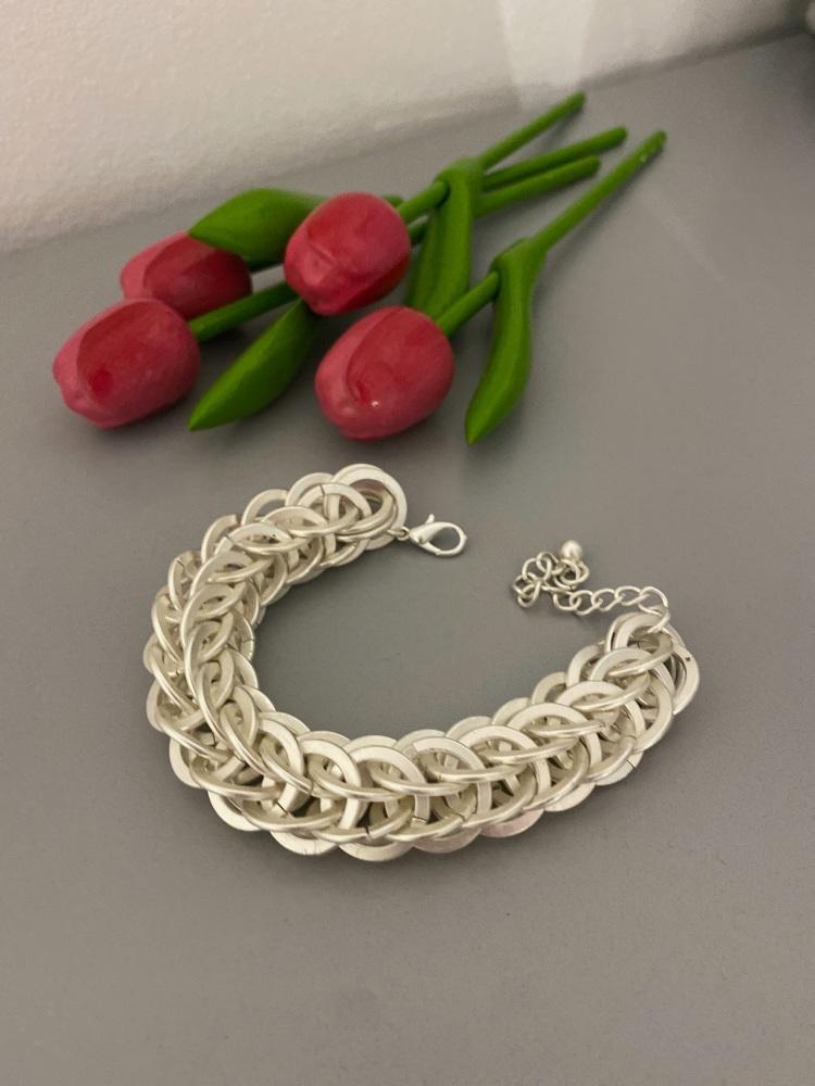 Chain Link Matt Silver Chunky Bracelet