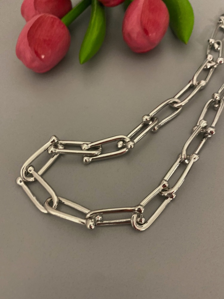 Chain link adjustable length silver necklace