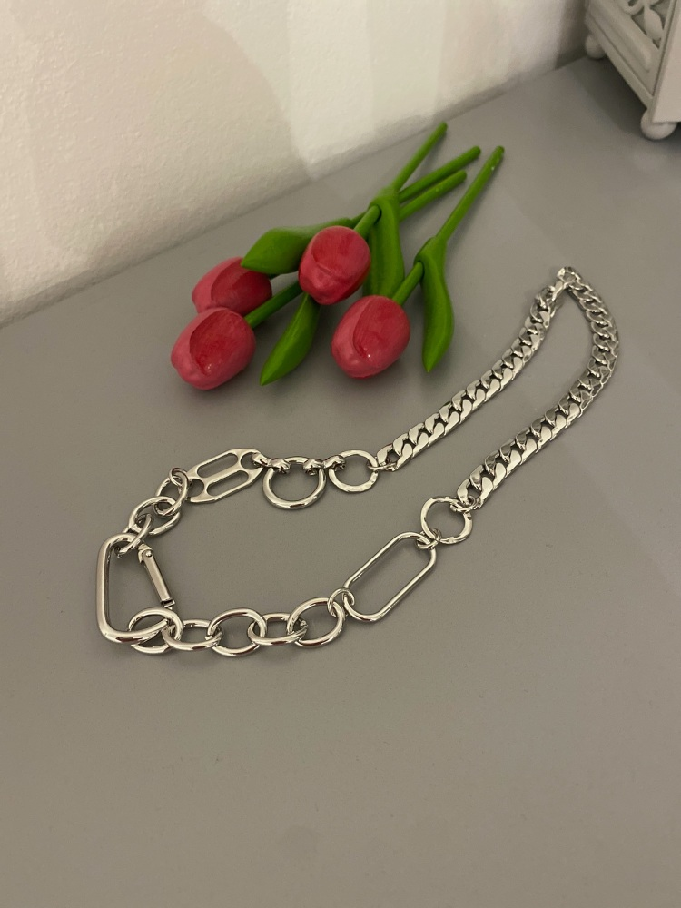 Mixed link carabiner fastening silver necklace