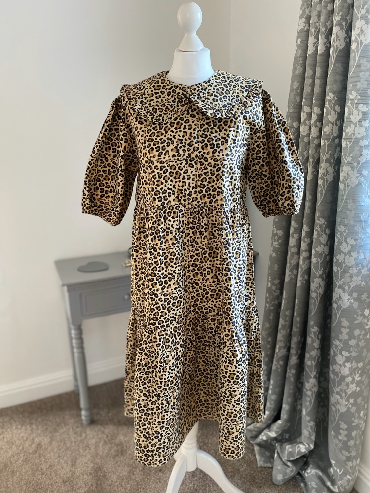 Leopard Print Peter Pan Collar Puff Sleeve Dress
