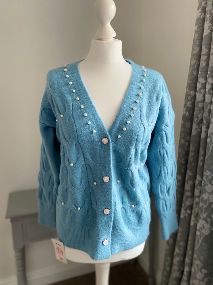 Blue Pearl Detail Cardigan