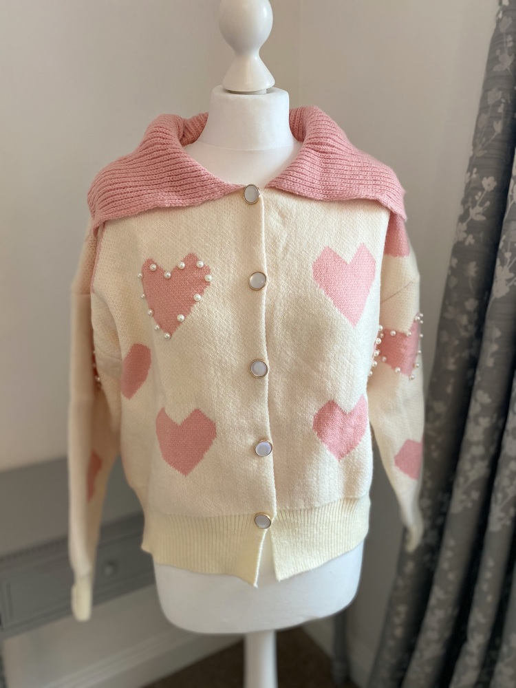 Cream and pink pearl heart cardigan