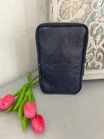 Navy Italian Leather Crossbody Phone Bag
