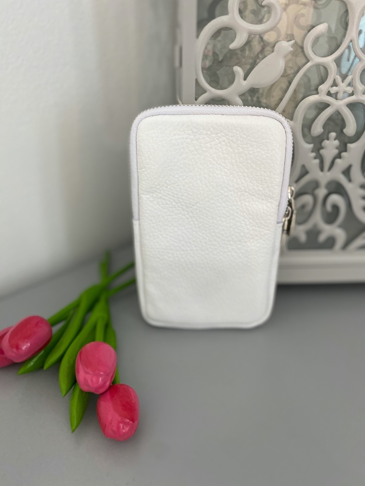 White Italian Leather Crossbody Phone Bag