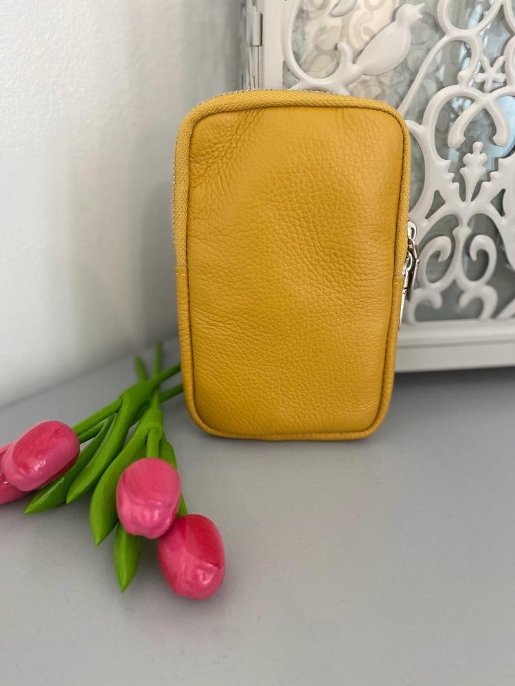 Yellow Italian Leather Crossbody Phone Bag