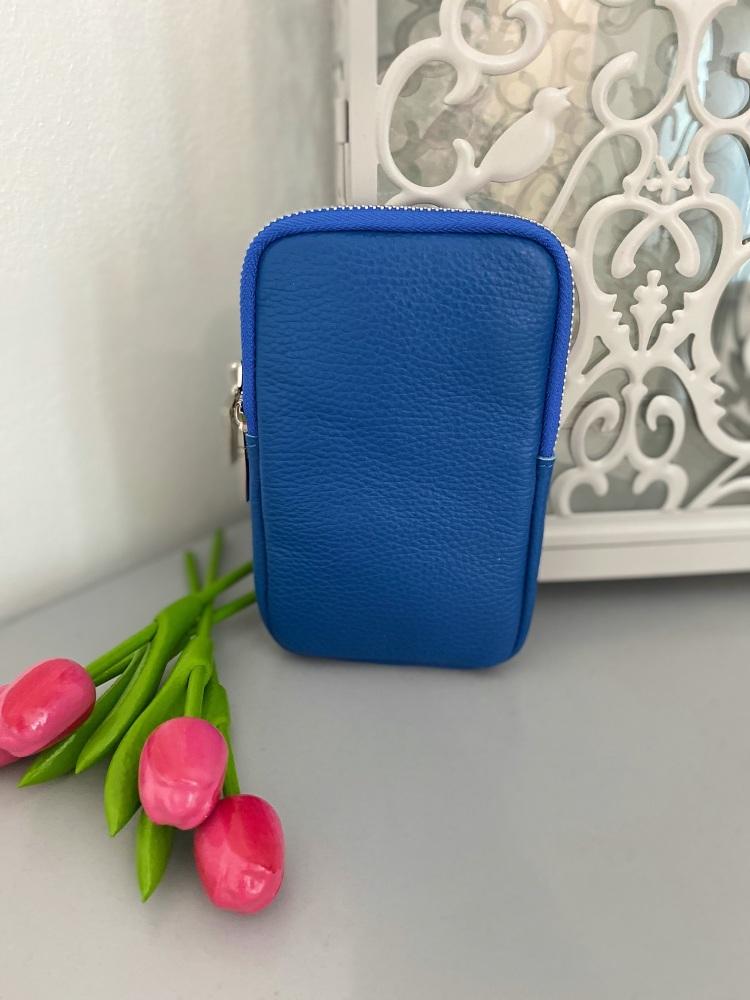 Blue Italian Leather Crossbody Phone Bag