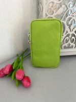 Green Italian Leather Crossbody Phone Bag