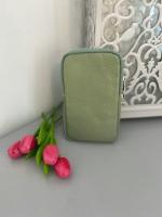Pistachio Italian Leather Crossbody Phone Bag