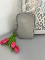 Grey Italian Leather Crossbody Phone Bag