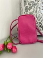 Pink Italian Leather Crossbody Phone Bag
