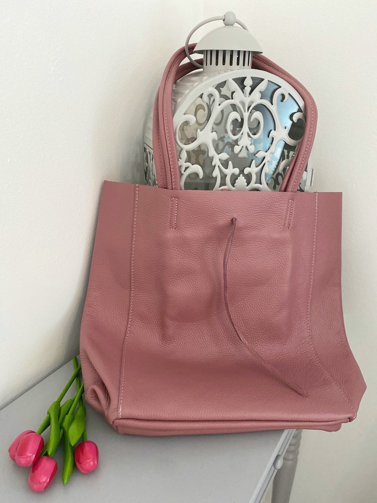 Dusty Pink Genuine Italian Leather Shopper / Tote Bag