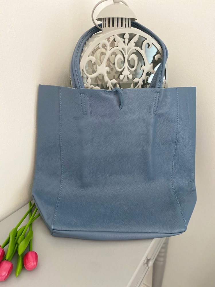 Pale Blue Genuine Italian Leather Shopper / Tote Bag