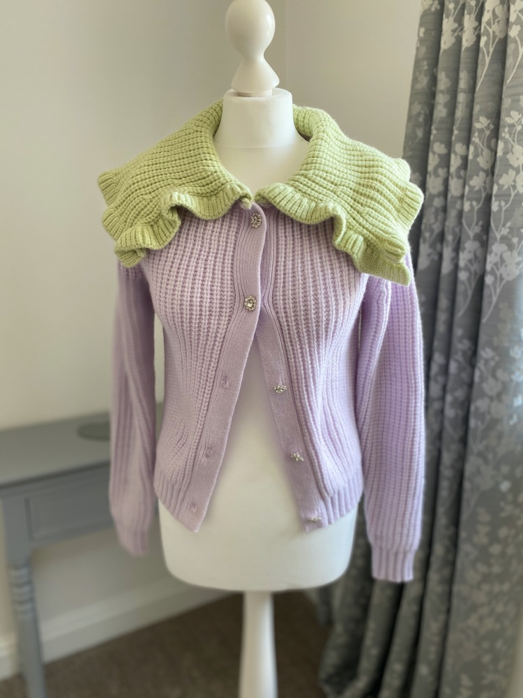 Lilac & Pistachio Chunky Knit Collared Cardigan