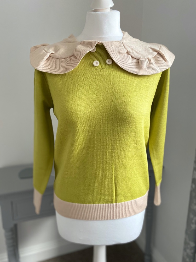 Green Skinny Fit Jumper with Feature Collar