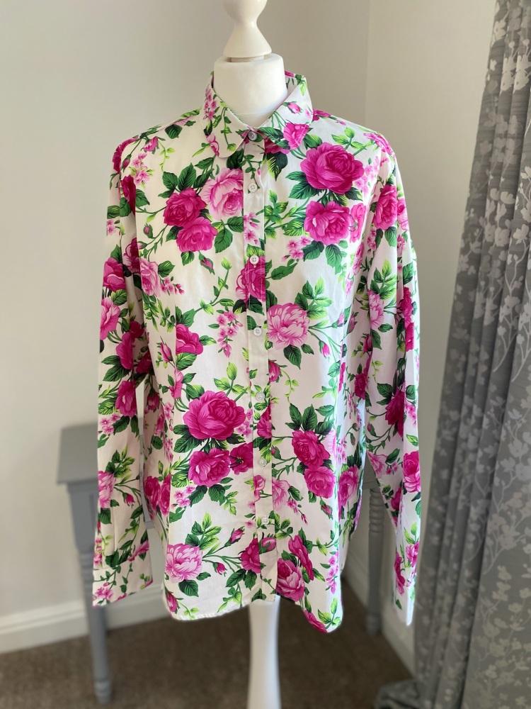 White & Pink Floral Shirt