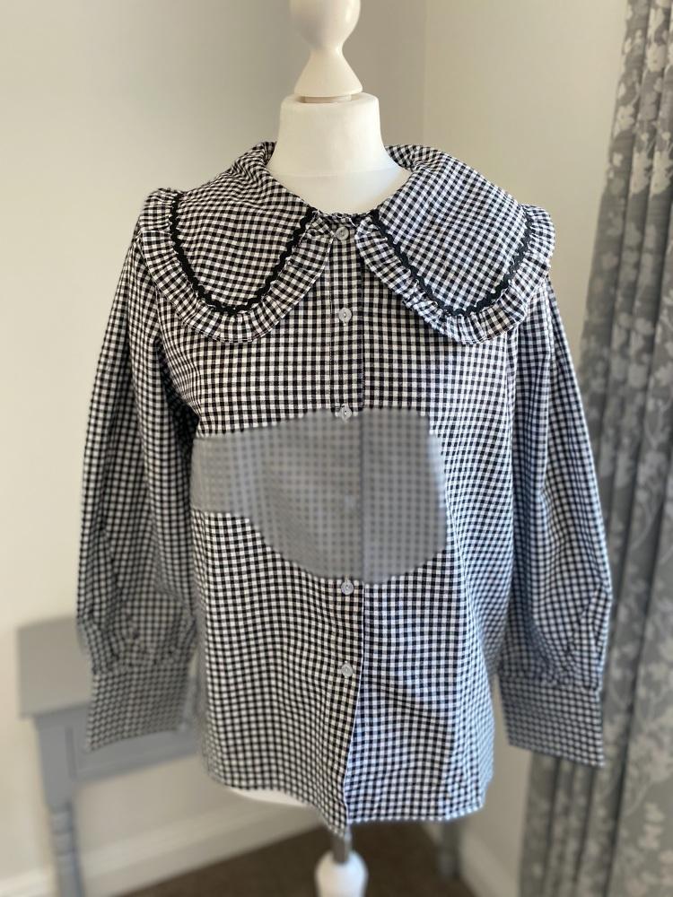 Black & White Gingham Peter Pan Collar Shirt