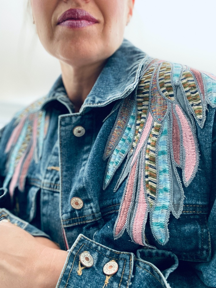 Embroidered Angel Wings Denim Slouchy Jacket