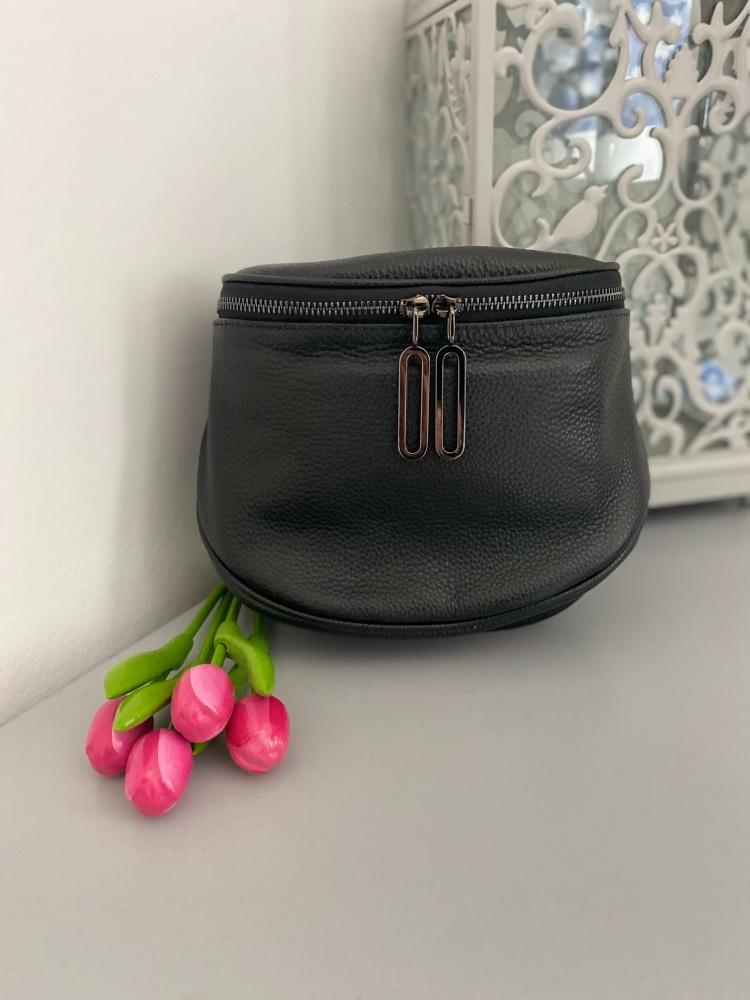 Black Crossbody Genuine Italian Leather Bucket Bag
