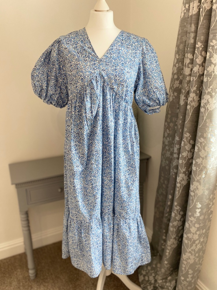 Puff Sleeve Blue Floral Cotton Midi Dress