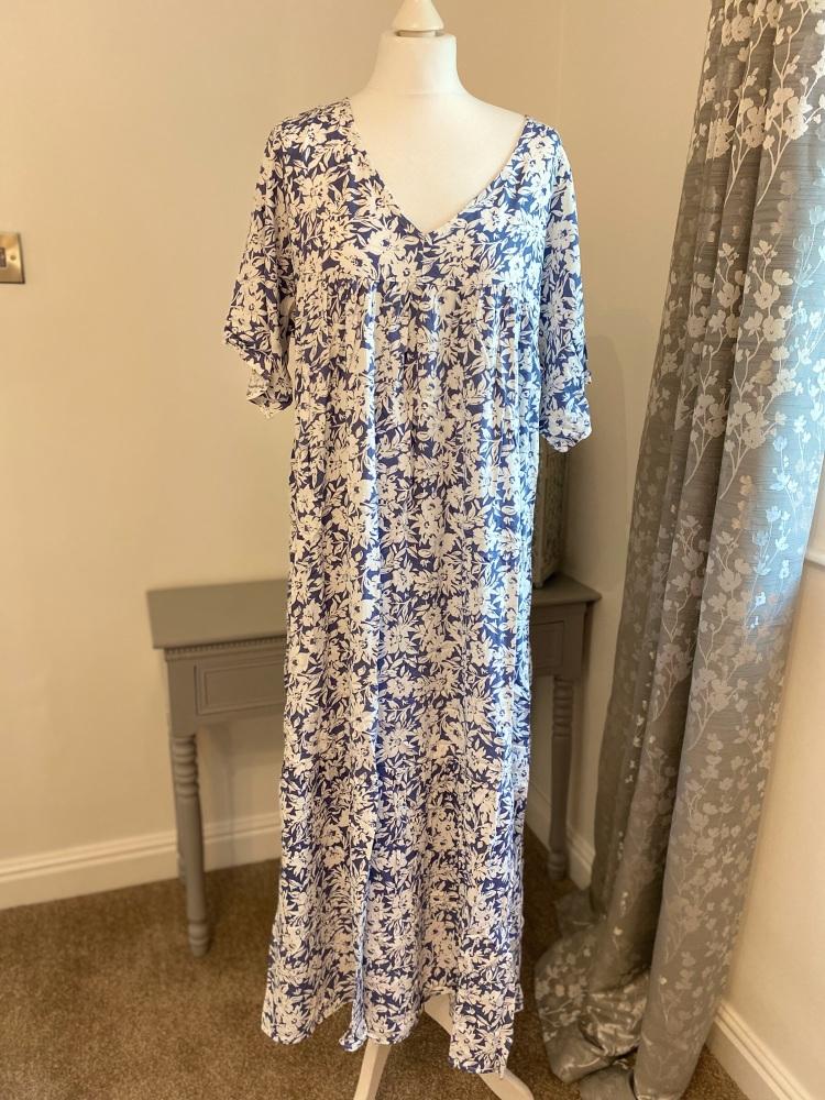 Wedgewood Blue Floral Print Maxi Dress