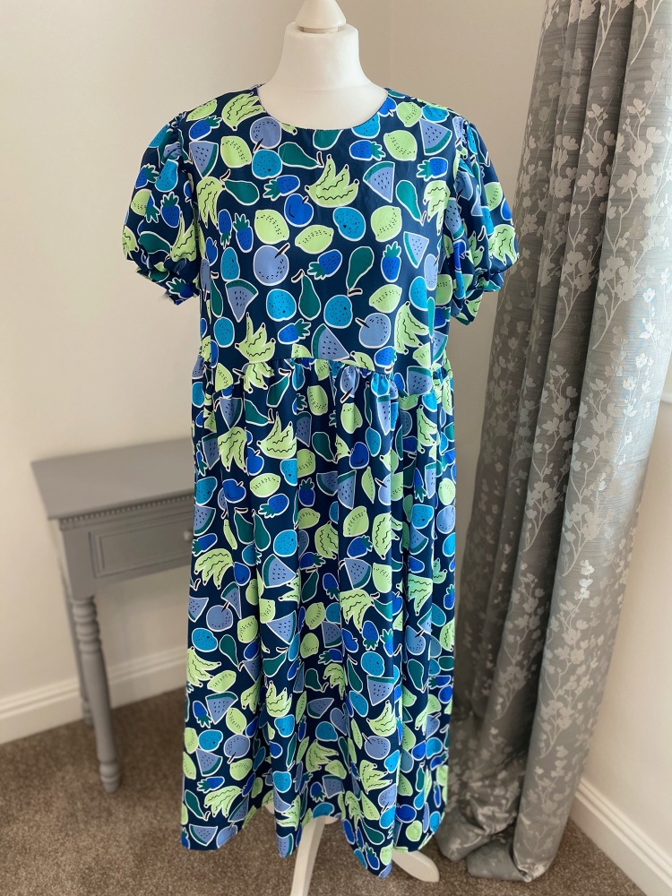 Blue fruity puff sleeve summer dress