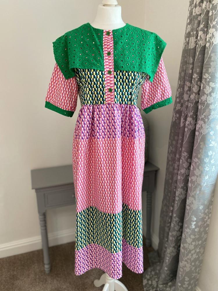 Pink & Green Collared Geometric Dress