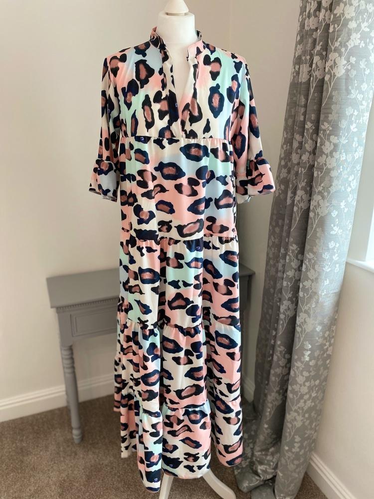Animal print V Neck Tiered Maxi Dress