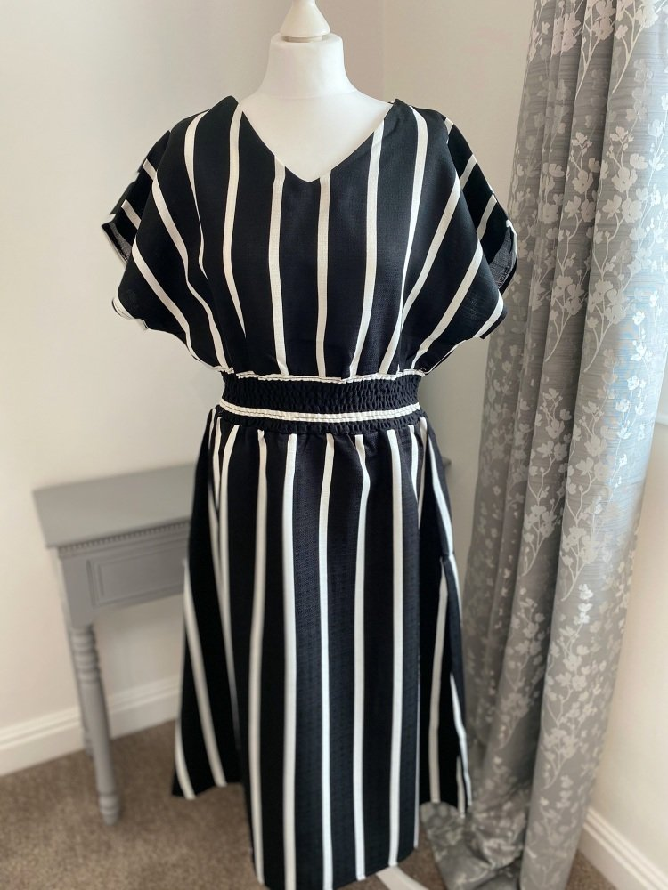 Black & White Stripe Linen Mix Midi Dress